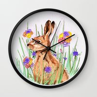 hare Wall Clocks featuring Hare by Rachael Withers