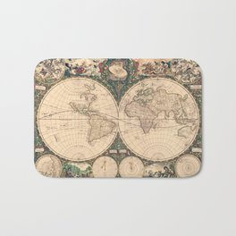 Vintage World Art Map Bath Mat
