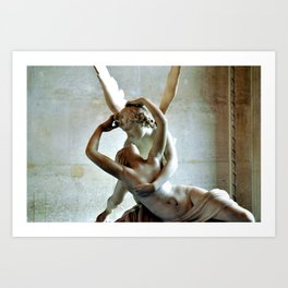 Psyche Revived by Cupids Kiss - Canova at the Louvre Art Print