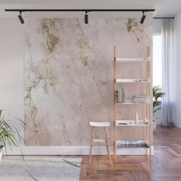 Marble Pattern in Pink and Gold Wall Mural