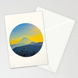 Mid Century Modern Round Circle Photo Yellow Blue Mount Fuji Sunset Watercolor Effect Landscape Stationery Cards