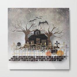 Snowfall on Halloween Metal Print