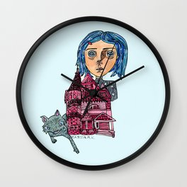 Coraline and Kitty Wall Clock