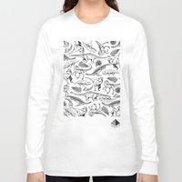 dinosaurs Long Sleeve T-shirts featuring Dinosaurs by La Lucha Eterna Custom Tattoo