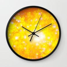 Shimmering Stars Orange Wall Clock