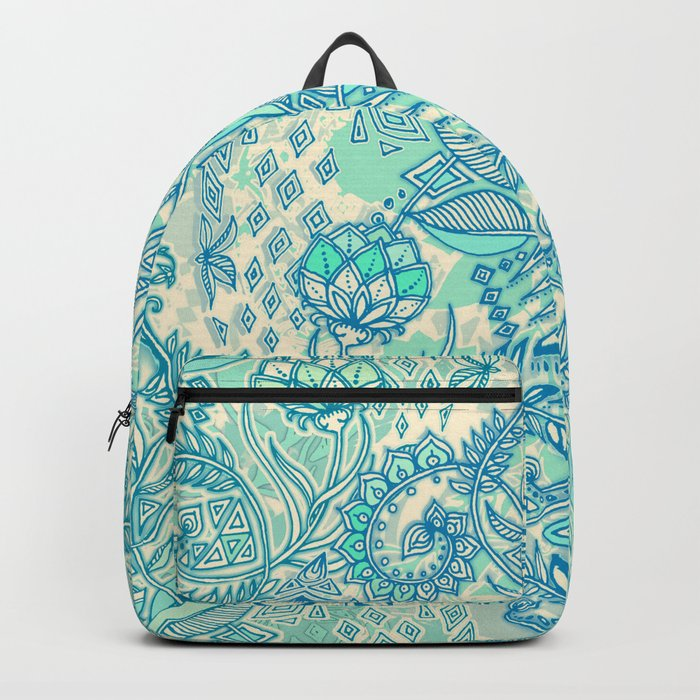 Botanical Geometry - nature pattern in blue, mint green & cream Backpack