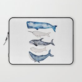 Watercolor orca whale, spermwhale, humpback, narwhal, beluga whales Laptop Sleeve