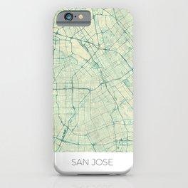 San Jose Map Blue Vintage iPhone Case