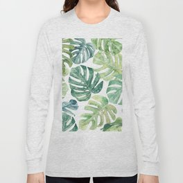 Tropical leaves Monstera leaves Jungle leaves Palm leaves Long Sleeve T-shirt