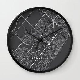 Oakville Map, Canada - Gray Wall Clock