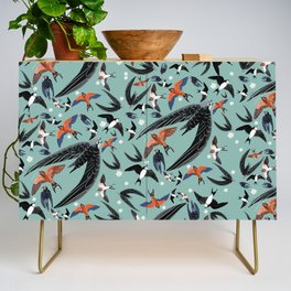 Swallows Martins and Swift pattern Turquoise Credenza