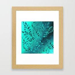 Monochrome Leaf Arrangement (Teal) Framed Art Print