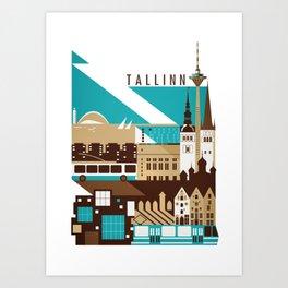 Tallinn Summer Retro Art Print