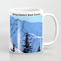 skiing Mugs featuring Back-Country Skiing  - V by Alaskan Momma Bear
