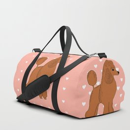 Red Apricot Poodle with Peach Pink & Hearts Duffle Bag