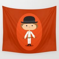 stanley kubrick Wall Tapestries featuring Ultra-Cuteness by Sombras Blancas Art & Design