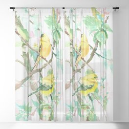 American Goldfinch and Apple Blossom Sheer Curtain