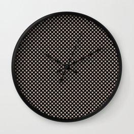 Black and Champagne Beige Polka Dots Wall Clock