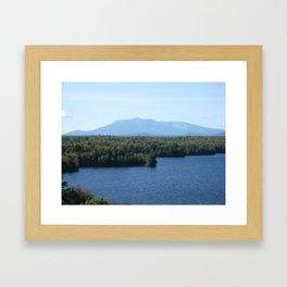 Mt. Katahdin over Salmon Stream Framed Art Print