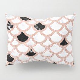 Girly rose gold black white marble mermaid scallop pattern Pillow Sham
