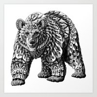 ornate Art Prints featuring Ornate Bear by BIOWORKZ