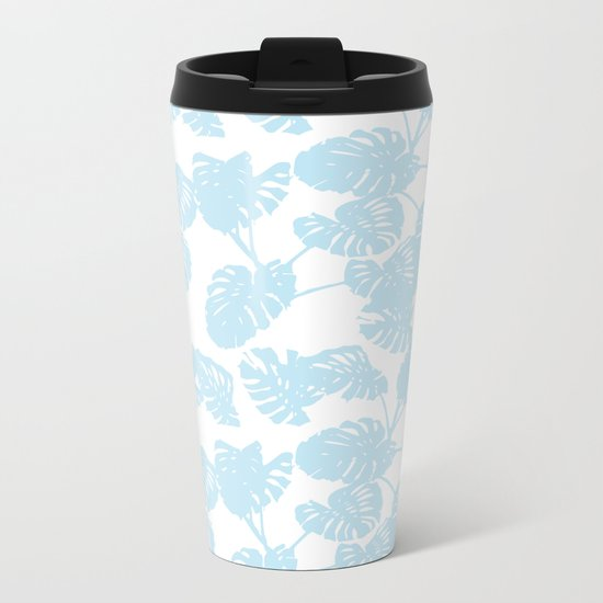 Blue monstera tropical leaves print Metal Travel Mug