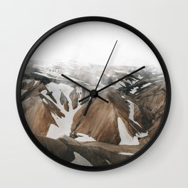 Iceland Snow and Mountains Wall Clock