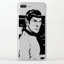 Spock Leonard Nimoy Portrait Sci-fi Geek Painting Clear iPhone Case