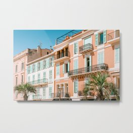 Architecture Downtown Cannes City, Cannes Print, French Riviera Houses, Colorful Houses Cannes City France Metal Print