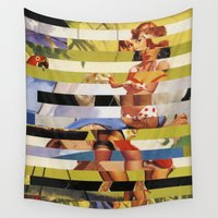 polkadot Wall Tapestries featuring Glitch Pin-Up Redux: Farrah by Wayne Edson Bryan