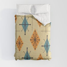 Mid Century Modern Starburst Diamonds Orange And Blue Comforters