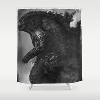 godzilla Shower Curtains featuring Godzilla by ffejeromdiks