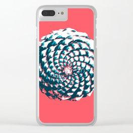 pine cone pattern in coral, aqua and indigo Clear iPhone Case