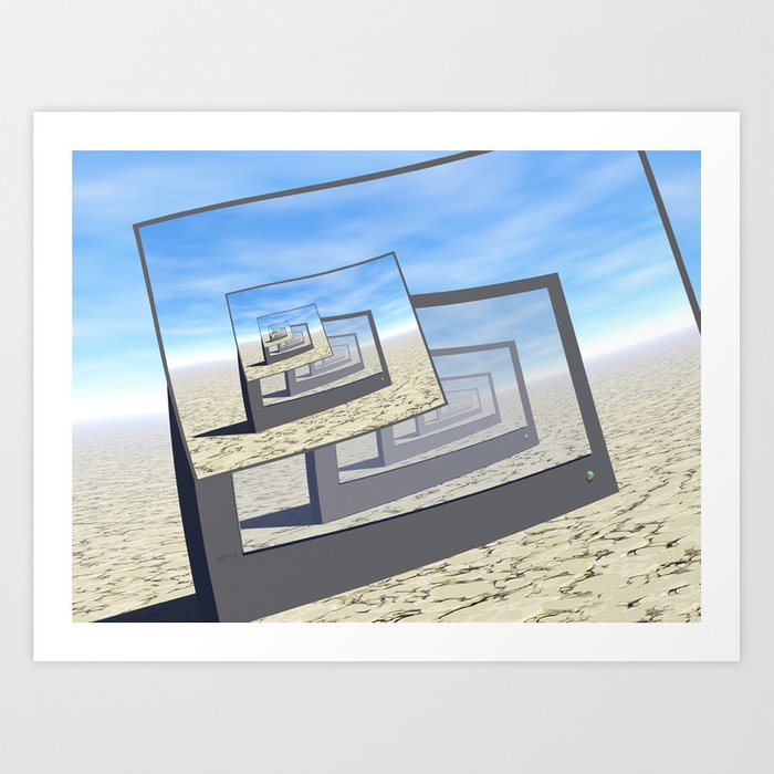 Surreal Monitors Infinite Loop Art Print