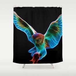 Barn Owl Fractal Shower Curtain