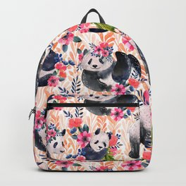Watercolor pattern with pandas and flowers. Backpack