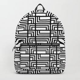 Art Deo Black and White Rectangle and Square Pattern Backpack
