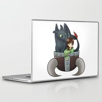 hiccup Laptop & iPad Skins featuring Hiccup and Toothless in a Helmet by snowrunt