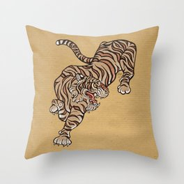 Tiger in Asian Style Throw Pillow