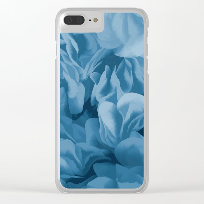 Midnight Blue Petal Ruffle Abstract Clear iPhone Case