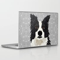 border collie Laptop & iPad Skins featuring Beautiful Border Collie by ArtLovePassion