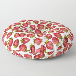 Watercolor Strawberries Floor Pillow