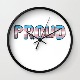 PROUD trans flag LGBTQ Wall Clock