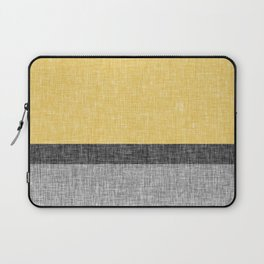 Yellow Grey and Black Section Stripe and Graphic Burlap Print Laptop Sleeve