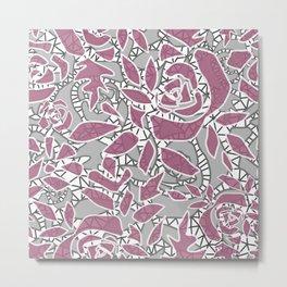 Gray pink lace Metal Print