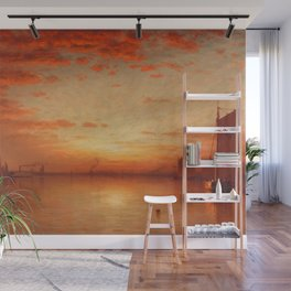 A Sunset, Bay of New York Landscape Painting by Sanford Robinson Gifford Wall Mural