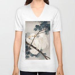 Cockatoo on a tree - Japanese vintage woodblock print Unisex V-Neck