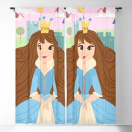 Fairy Tale Princess With Her Story Book Castle - Blue Dress Blackout Curtain