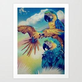 The Three Macaws Art Print