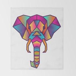 Elephant   Geometric Colorful Low Poly Animal Set Throw Blanket